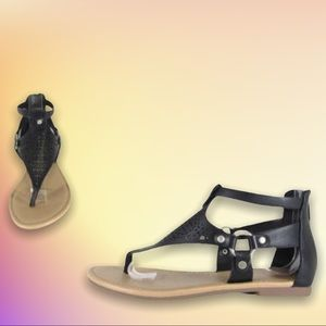 Soda Beast Black Strap Gladiator Zip Flat Sandal